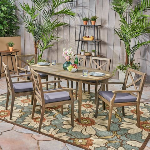 Pines Outdoor 7 Piece Acacia Wood Dining Set by Christopher Knight Home