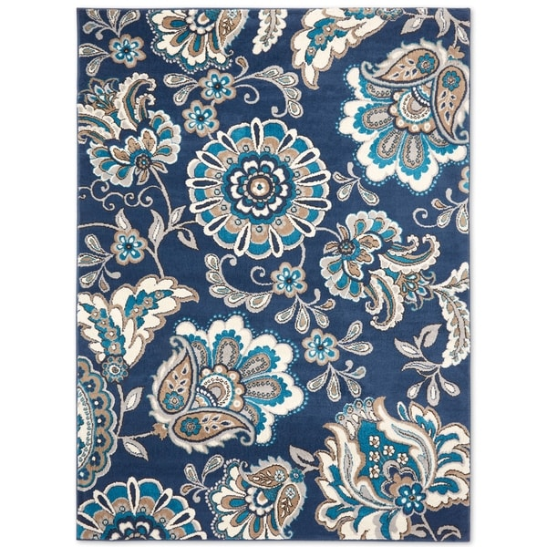 Shop Tremont Floral Navy Blue Area Rug By Home Dynamix 8