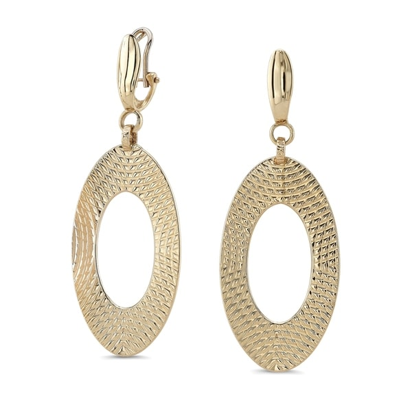14k Yellow Gold Open Textured Oval Drop Earrings