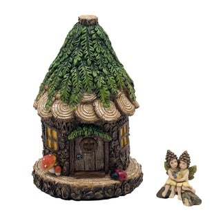 Alpine Cuddle Nest Fairy House with Lara and Lanette Fairy Figurines, 8 Inch Tall