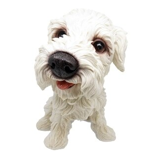 Alpine White Puppy with Big Head Statue, 14 Inch Tall