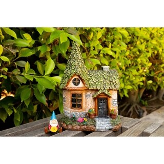 "Alpine Mystic Estates Fairy House with ""Elvin"" Gnome Figurine, 9 Inch Tall"