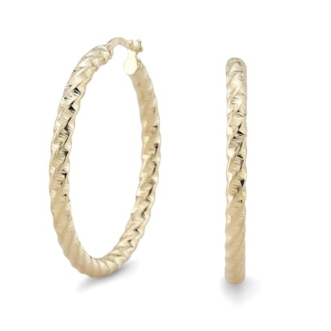 14k Yellow Gold Twisted Round Hoop Earrings, 35mm