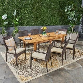 Davenport Outdoor 9 Piece Wood and Wicker Expandable Dining Set by Christopher Knight Home