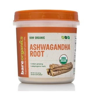 BareOrganics ASHWAGANDHA ROOT POWDER (Raw - Organic) (8oz) 227g