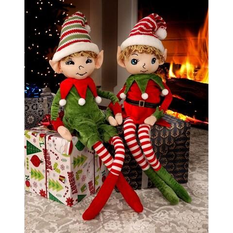"36"" Velvet/Knit Vintage Sitting Elf - RED"