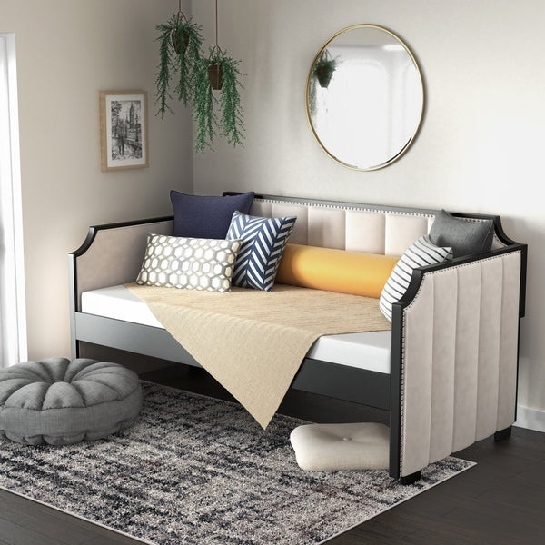 Furniture of America Kove Contemporary Twin Fabric Nailhead Daybed. Opens flyout.