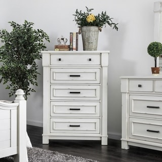 Furniture of America Feon Transitional White Solid Wood 5-drawer Chest