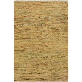 """Gabbeh Modern Loise Tan/Red Wool Rug - 5'1 x 7'4 - 5'1"""" x 7'4"""""""