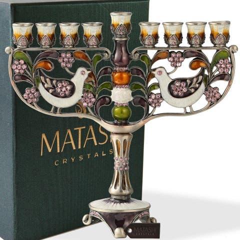 HandPainted Enamel Menorah Candelabra w/Gold Accents Matashi Crystals