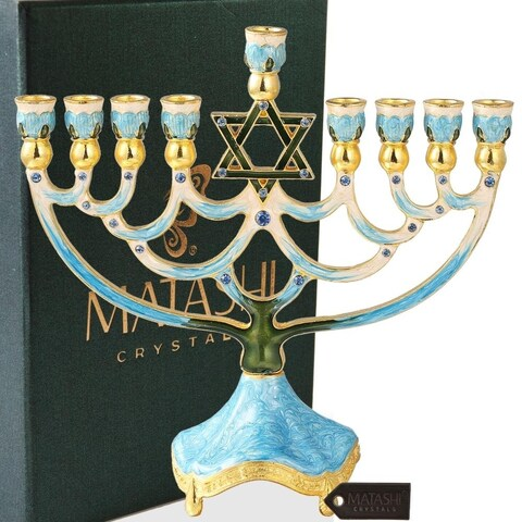 Hand Painted Enamel Menorah Candelabra w/Gold Accent Matashi Crystals