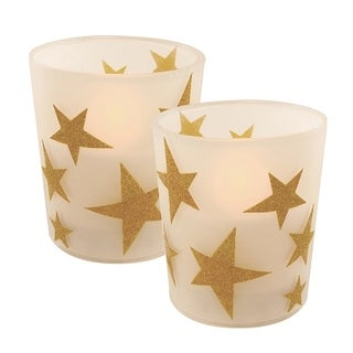 Gold Star LED Candles in Glass Holders - Set of 2