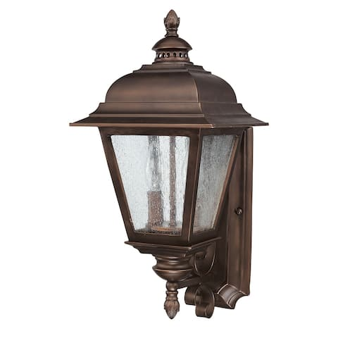 """19""""H Brookwood 2-Light Outdoor Fixture Burnished Bronze with Seeded Glass"""