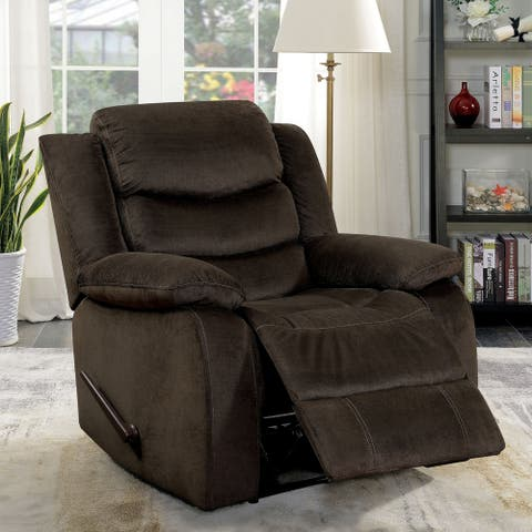 Furniture of America Mele Transitional Brown Fabric Swivel Recliner