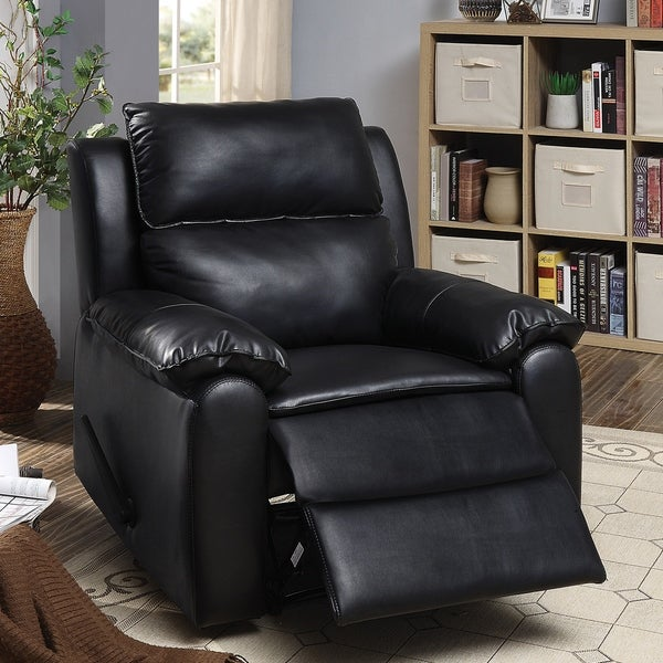 Furniture of America Ress Contemporary Black Leatherette Recliner