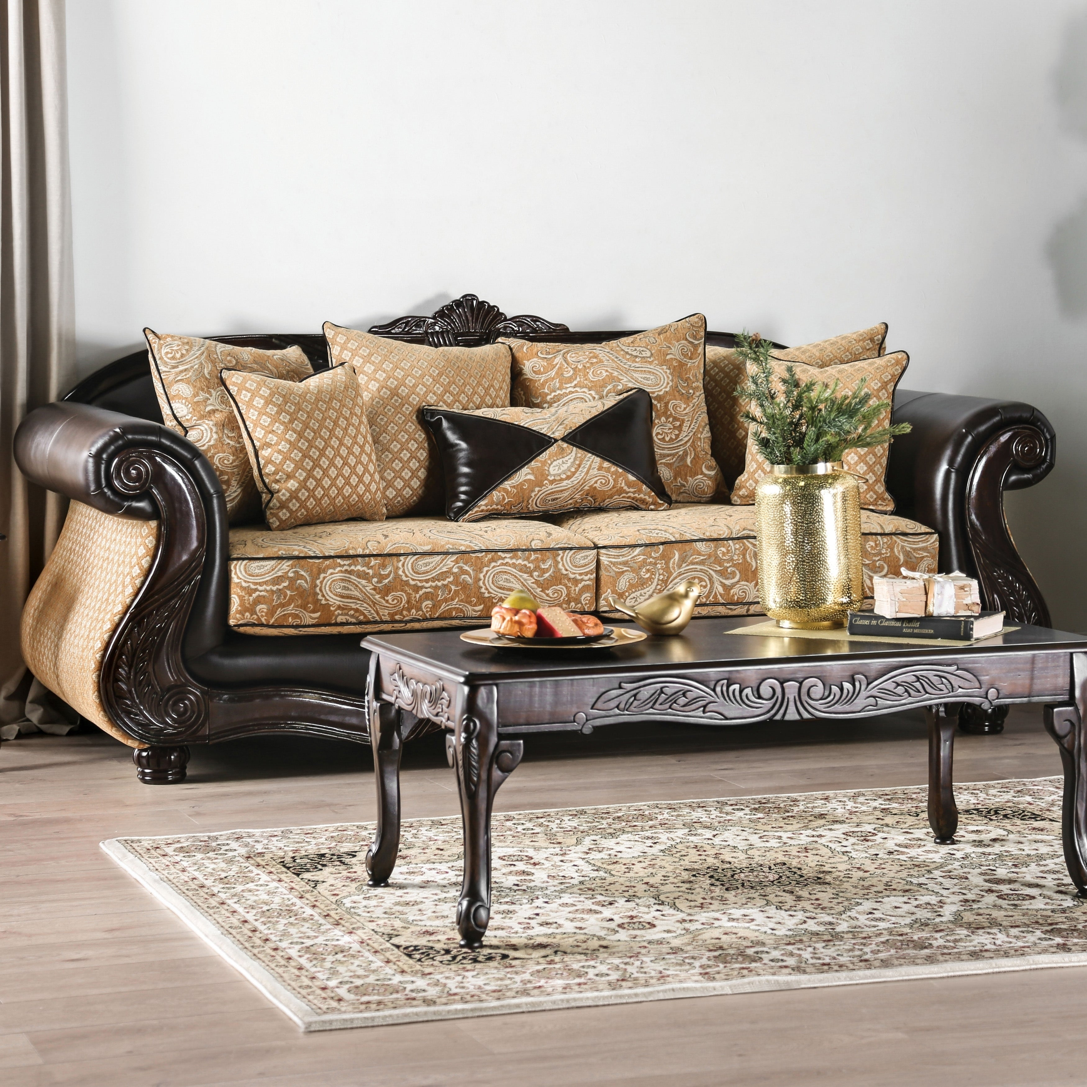 Chelsea Transitional Gold Sofa by FOA