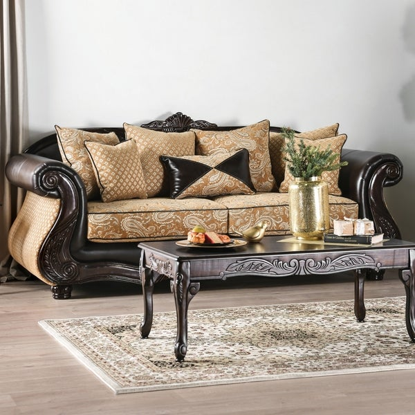 Furniture Of America Chelsea Gold Chenille And Leather Sofa