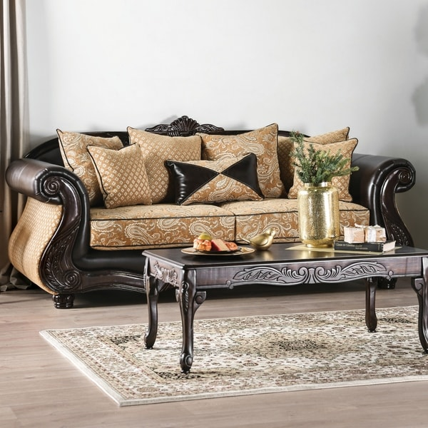 Shop Furniture Of America Chelsea Gold Chenille And Leather Sofa