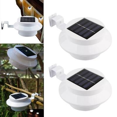Two Packs Solar Gutter Utility Outdoor Light Fence Yard Light