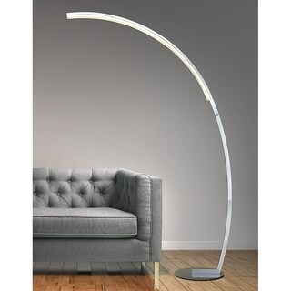 HomeGlam Launch Chrome Dimmable Curved Linear LED Arc Floor Lamp