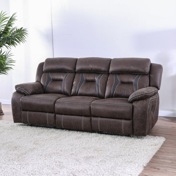 Hurry Up For Your Best Cheap Sofas On Sale: Shop Denton Transitional Brown Reclining Sofa By FOA