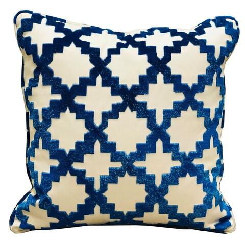 Plutus Velvety French Medallion Blue and Off White Geometric Luxury Throw Pillow