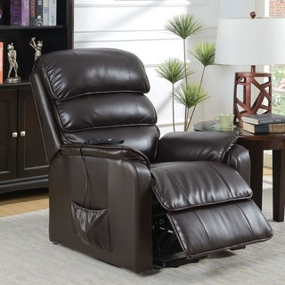 Furniture of America Hind Traditional Brown Power Recliner
