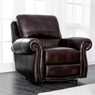 Furniture of America Ida Brown Top Grain Leather Power Recliner