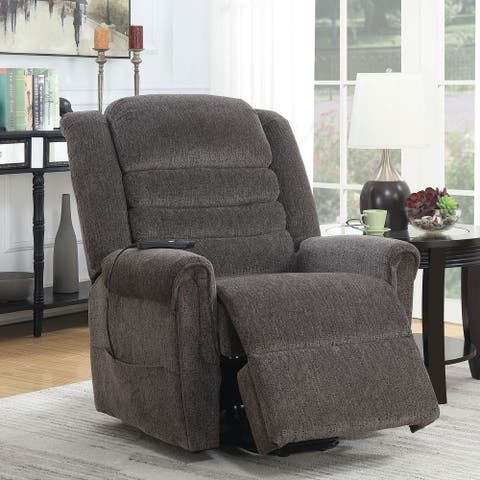 Furniture of America Lede Traditional Grey Chenille Power Recliner