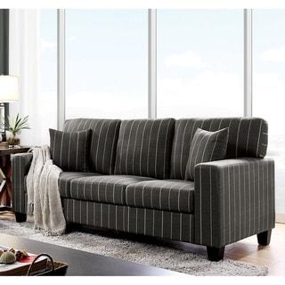 Furniture of America Bleecker Pin Stripe Linen Fabric Sofa
