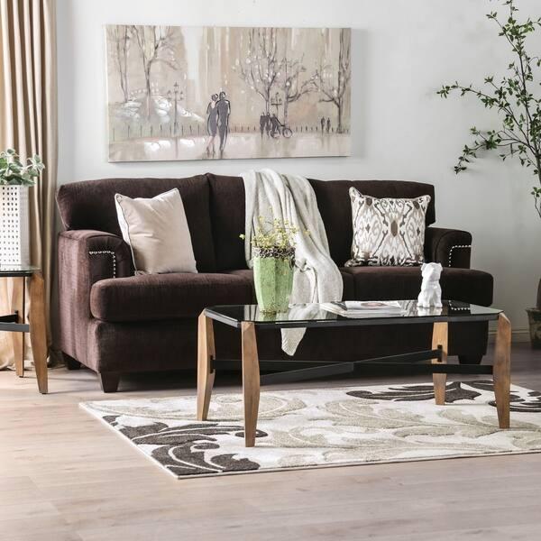 Furniture Of America Leonara Chocolate Brown Chenille Sofa