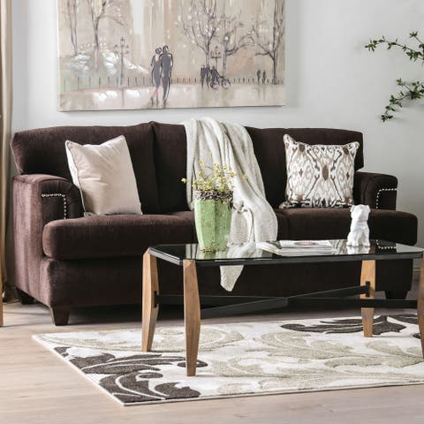 Furniture of America Leonara Chocolate Brown Microfiber Sofa