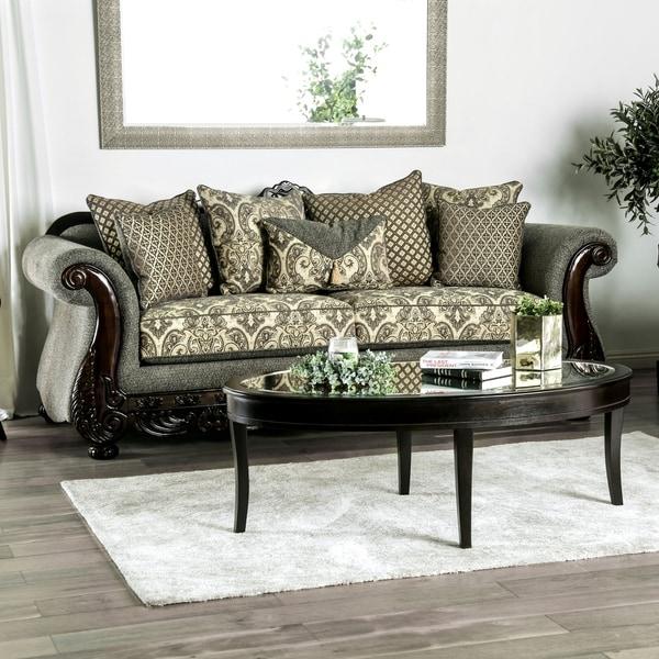 Shop Furniture Of America Hutchens Fabric Wood Trim Sofa On Sale