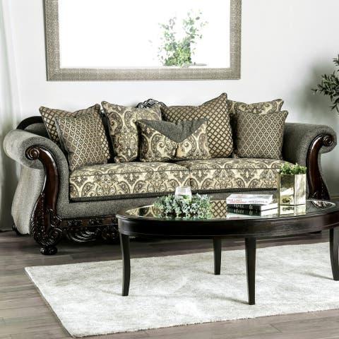 Furniture of America Kols Traditional Grey Fabric Upholstered Sofa