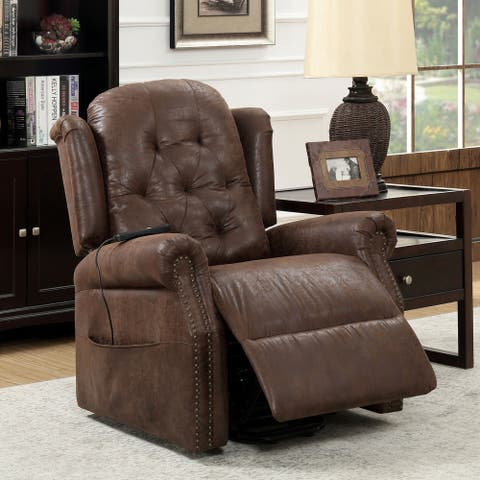 Furniture of America Hind Traditional Brown Faux Leather Recliner