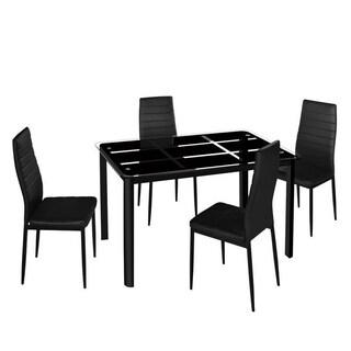 5 PCS Kitchen Furni Glass Metal Dining Table Set w/ Chairs
