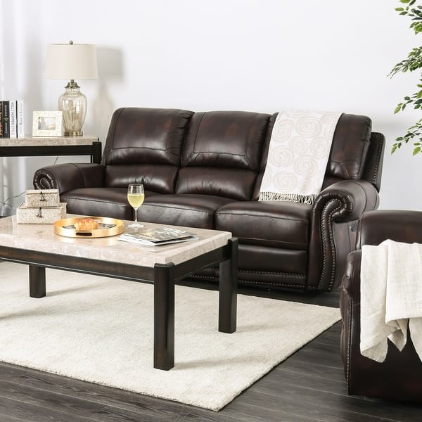 Shop Copper Grove Suhindol Leather Reclining Sofa - On Sale - Free ...