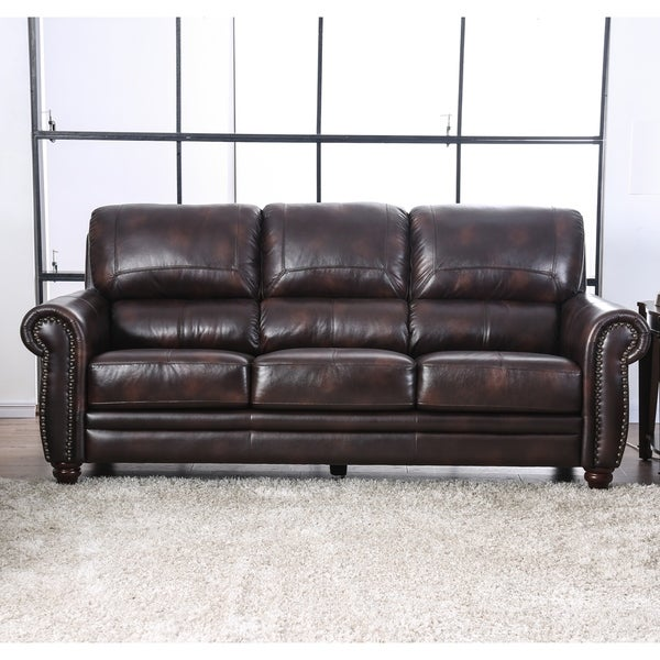 Leather Match Sofa: Shop Furniture Of America Richmond Leather Match Sofa