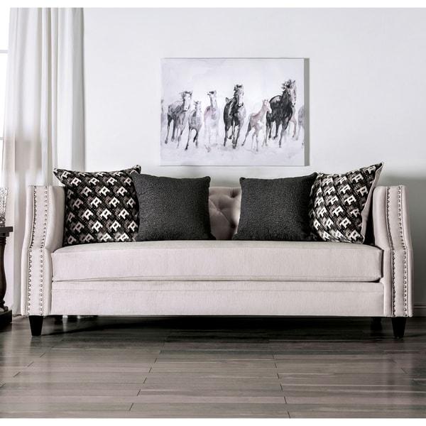 Shop Furniture Of America Ruch Transitional Beige Velvet