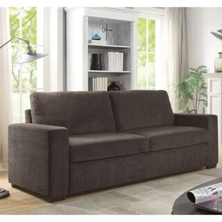 Furniture of America Dane Microfiber Brown Chenille Sofa Bed Sleeper