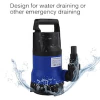 1HP 3432GPH Submerged Pump Dirty Clean Water Pump Swimming Flooding Pond 750W - Blue and Black