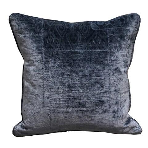Plutus Bleu Velour Blue Luxury Throw Pillow