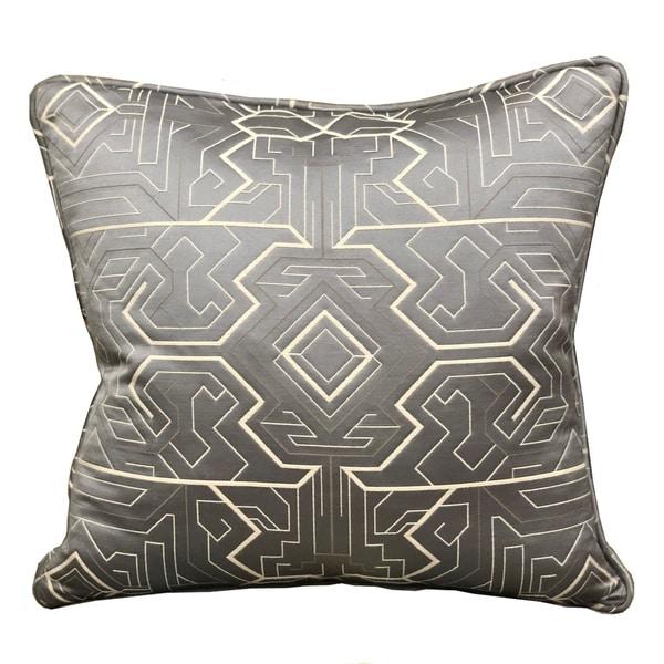 Plutus Daria Moss Silver Geometric Luxury Decorative Throw Pillow