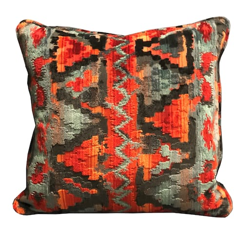 Plutus Sachi Love Red, Blue and Orange iKat Luxury Decorative Throw Pillow