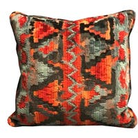 Plutus Sachi Love Red, Blue and Orange iKat Luxury Decorative Throw Pillow