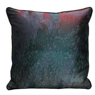 Plutus Bleu Velour Blue, Green, Red Luxury Throw Pillow