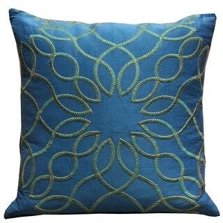 Plutus Calico Island Blue and Green Geometric Luxury Throw Pillow