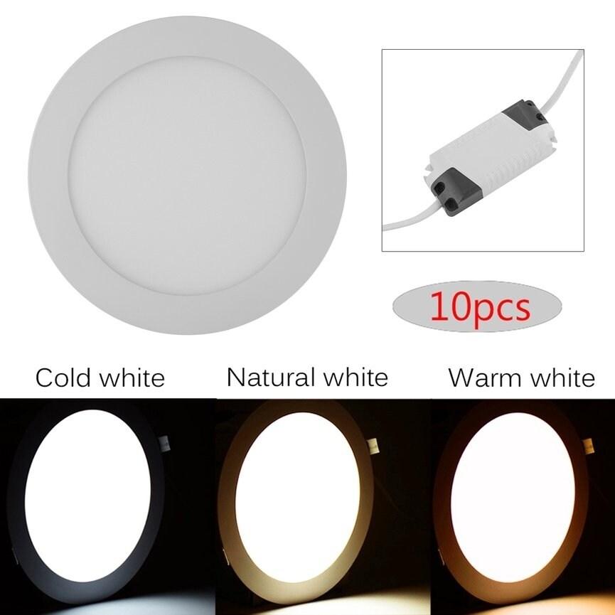the best attitude 873e3 ff0c9 10pcs/set Round Shape AC85-265V Dimmable LED Panel Light 15W Ceiling Light