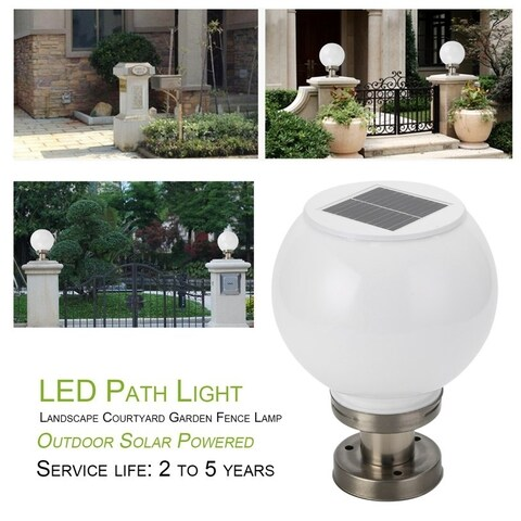 Outdoor Solar Power LED Path Light Courtyard Garden Fence Waterproof Lamp - Silver