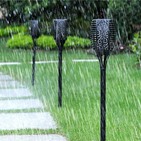 2pcs Outdoor LED Flickering Flame Solar Landscape Torch Light Streetlight - Black